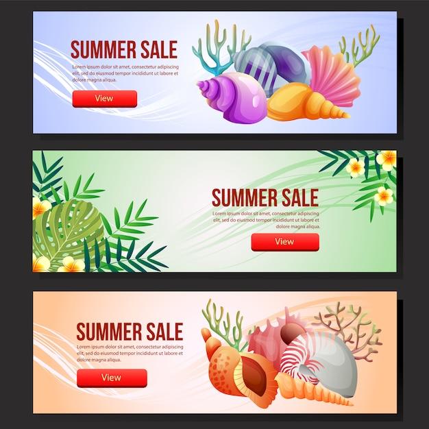 Modelo de banner de venda verão colorido conjunto ilustração em vetor concha do mar Vetor Premium