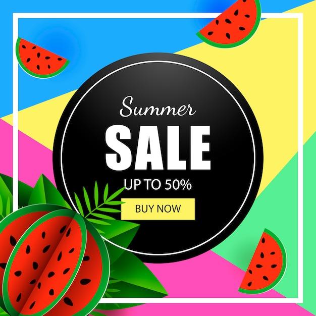 Modelo de banner de venda verão melancia Vetor Premium