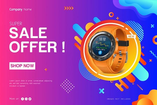 Modelo de banner de venda Vetor Premium