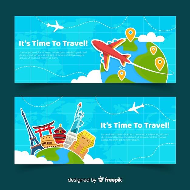 Modelo de banner de viagem plana Vetor grátis