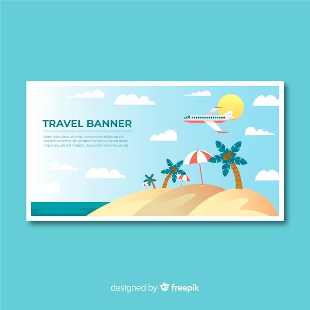 Modelo de banner de viagens design plano Vetor grátis
