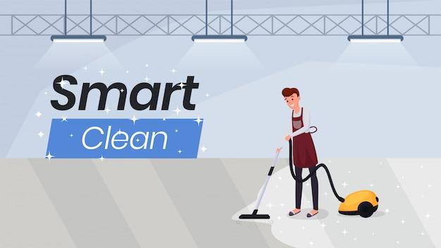 Modelo de banner de web plana de serviços de limpeza Vetor Premium