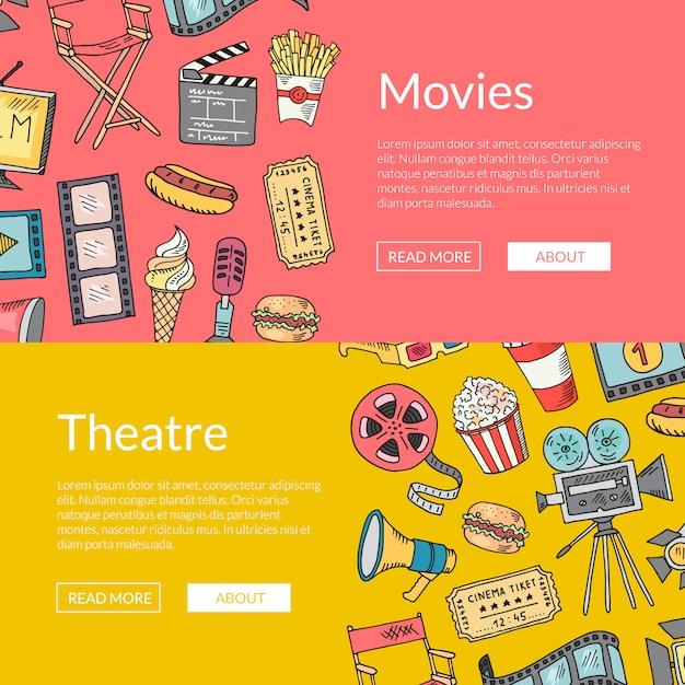 Modelo de banner do vetor cinema doodle. esboço de elementos de cinema Vetor Premium