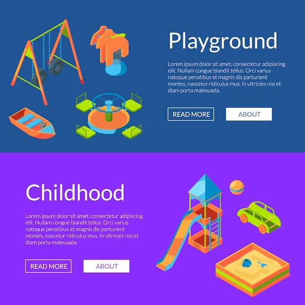 Modelo de banner do vetor isométrica playground web. cartões de infância e diversão Vetor Premium