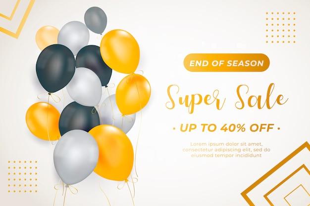 Modelo de banner elegante venda com balões Vetor grátis
