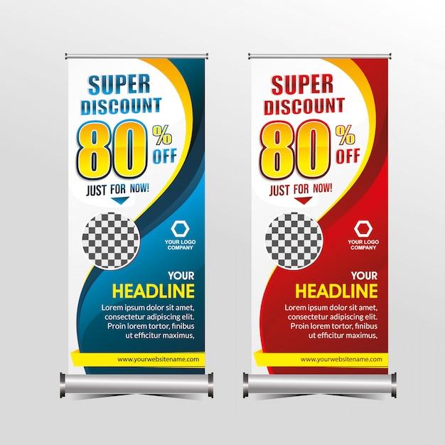 Modelo de banner em pé desconto de venda de oferta especial super, promoção de banners de venda de geometria Vetor Premium
