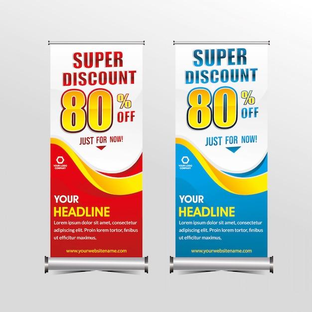 Modelo de banner em pé desconto de venda de oferta especial super, venda de bandeiras de geometria de promoção Vetor Premium
