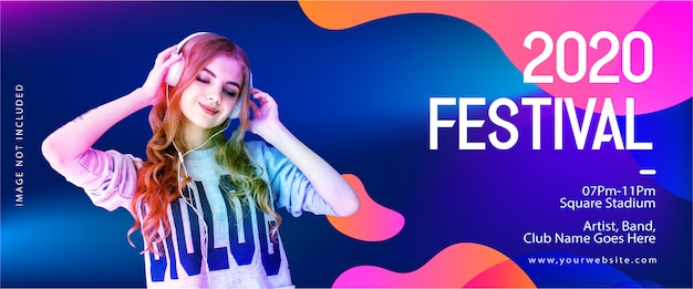 Modelo de banner festival 2020 para dj música e festa Vetor Premium
