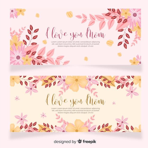 Modelo de banner floral do dia das mães Vetor grátis