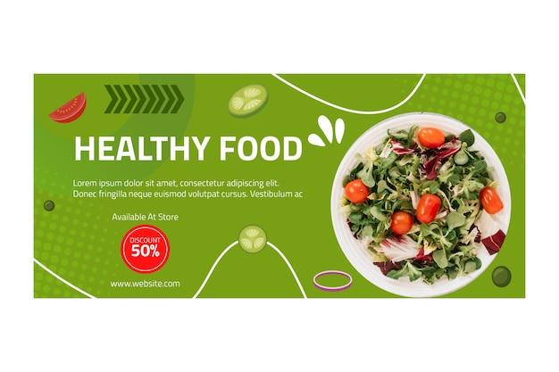 Modelo de banner horizontal de comida saudável com foto Vetor Premium