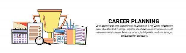 Modelo de banner horizontal de conceito de desenvolvimento pessoal de planejamento de carreira Vetor Premium