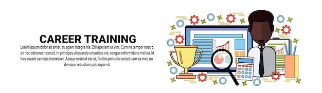 Modelo de banner horizontal de conceito de desenvolvimento pessoal de treinamento de carreira Vetor Premium