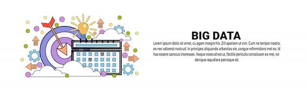 Modelo de banner horizontal de conceito de pesquisa de big data Vetor Premium