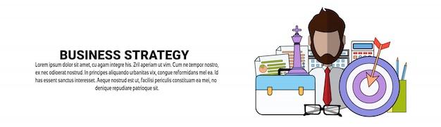 Modelo de banner horizontal de conceito de plano de estratégia de negócios Vetor Premium