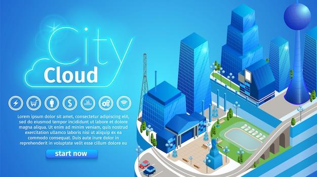Modelo de banner horizontal de nuvem de cidade Vetor Premium