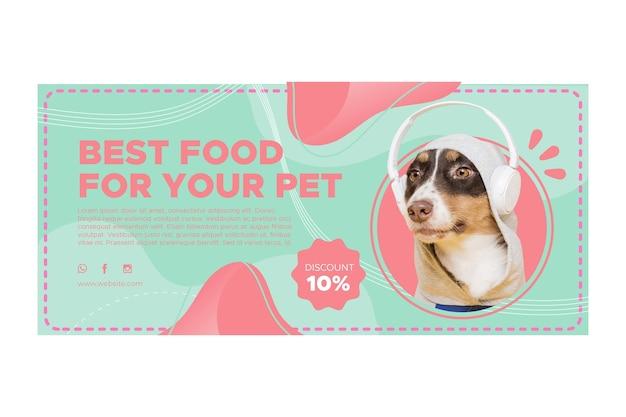 Modelo de banner horizontal de ração animal Vetor Premium