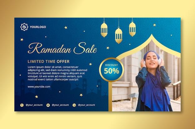 Modelo de banner horizontal de venda ramadan Vetor Premium