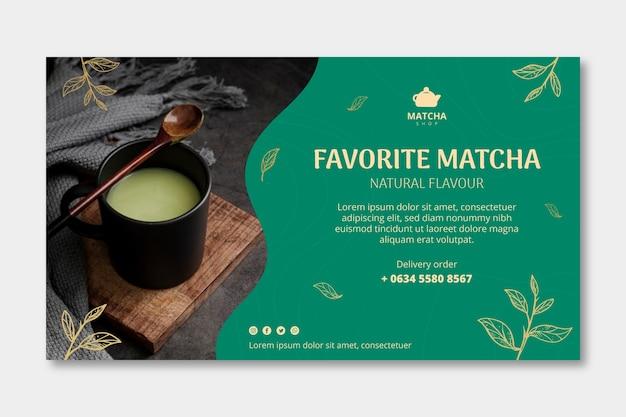 Modelo de banner horizontal para chá matcha Vetor Premium