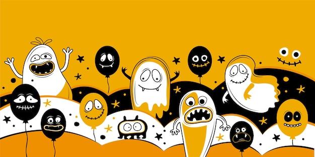 Modelo de banner horizontal para feliz dia das bruxas. balões com rostos assustadores, mandíbulas, dentes e bocas abertas. lugar para texto. ilustração vetorial festiva Vetor Premium