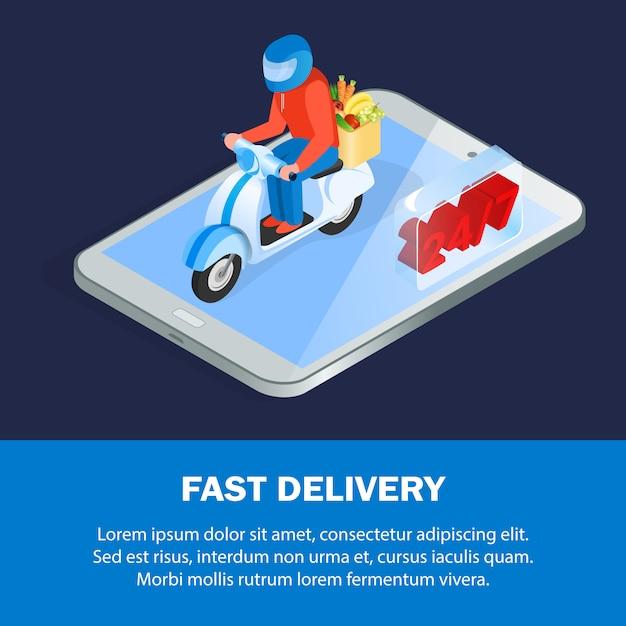 Modelo de banner isométrica de pedidos de comida on-line Vetor Premium