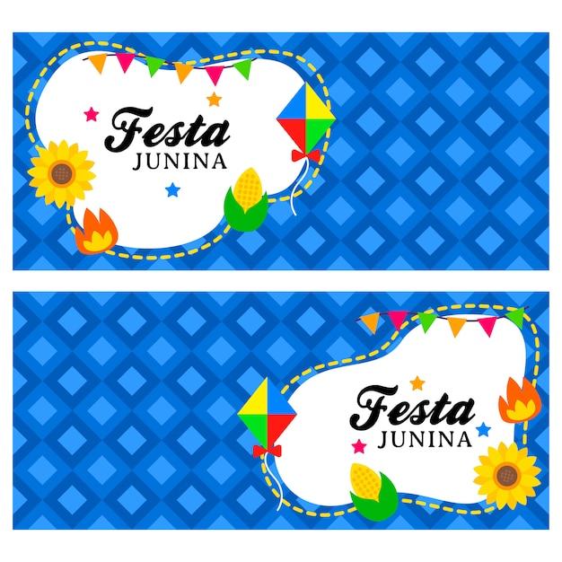 Modelo de banner junina feliz festa Vetor Premium