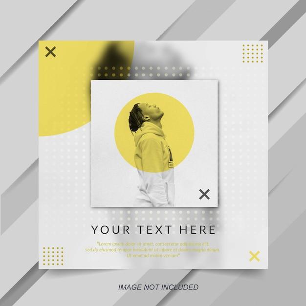 Modelo de banner moderno e minimalista amarelo instagram post Vetor Premium