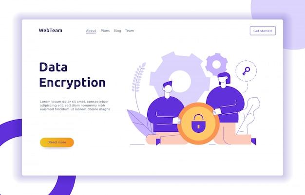 Modelo de banner on-line de criptografia de dados vetoriais web page Vetor Premium