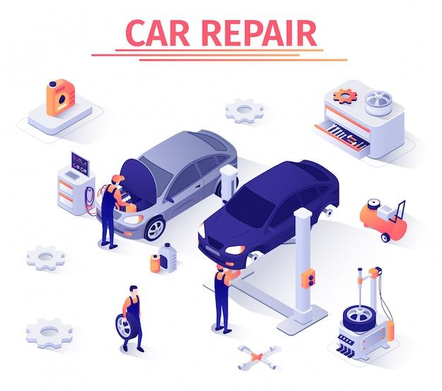 Modelo de banner para o serviço de reparo do carro. Vetor Premium