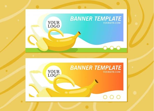 Modelo de banner para o site de fruitshop em fundo de madeira Vetor Premium