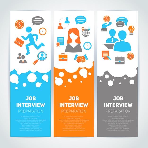 Modelo de banner plana de entrevista de emprego definido com composição de elementos Vetor grátis