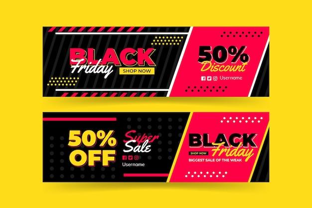 Modelo de banner preto e rosa preto sexta-feira Vetor Premium