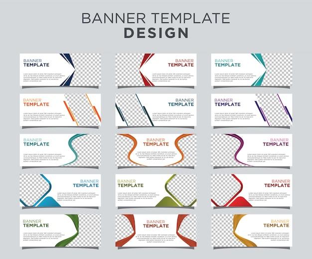 Modelo de banner profissional conjunto fundo branco Vetor Premium