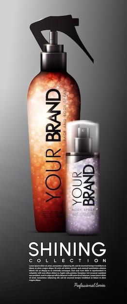 Modelo de banner publicitário em spray cosmético realista Vetor grátis