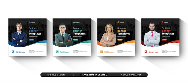 Modelo de banner quadrado de negócios mídias sociais Vetor Premium