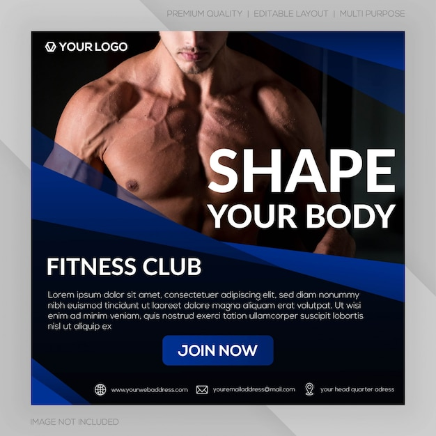 Modelo de banner quadrado do ginásio fitness club ou publicidade no instagram Vetor Premium