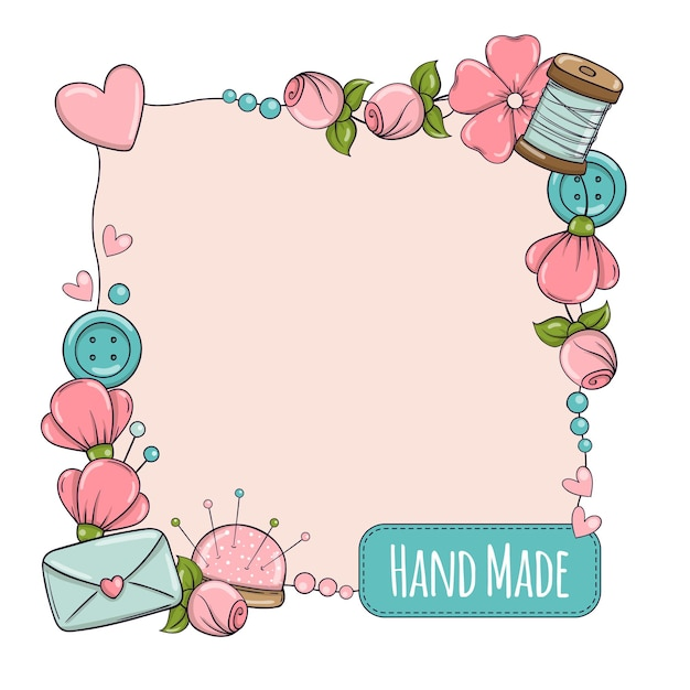 Modelo de banner quadrado para feito à mão, tricô, costura. quadro com atributos de costura e tricô em estilo doodle. Vetor Premium