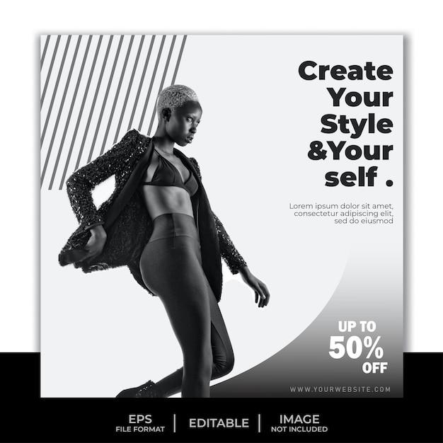 Modelo de banner quadrado para postagem no instagram, design simples em preto e branco Vetor Premium