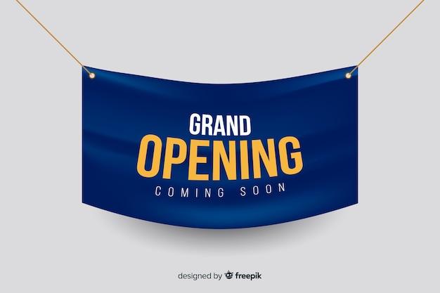 Modelo de banner realista de inauguração Vetor grátis
