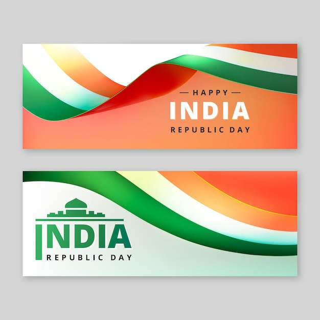Modelo de banner realista do dia da república indiana Vetor grátis