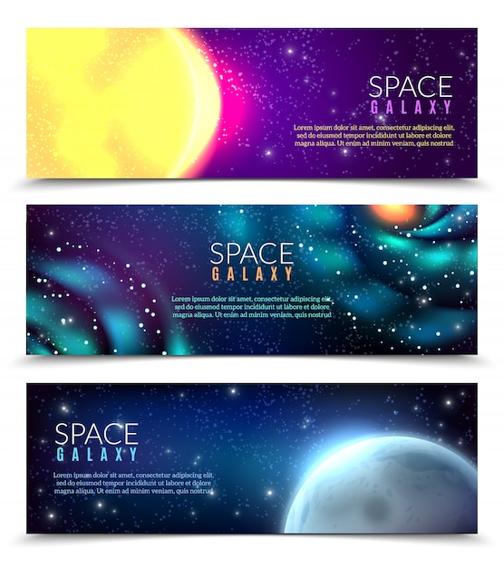Modelo de banner realista galáxia Vetor grátis