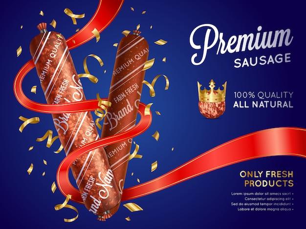 Modelo de banner realista salsicha premium Vetor grátis