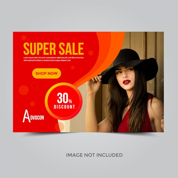 Modelo de banner super venda, cupom de desconto de 30% Vetor Premium