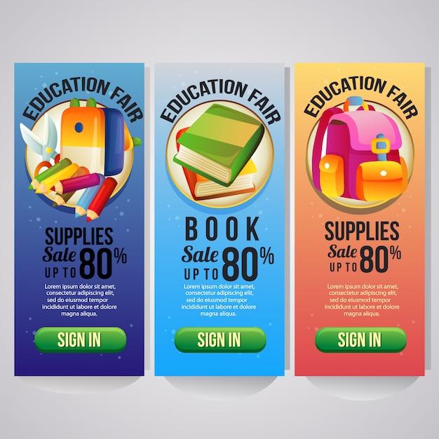 Modelo de banner vertical de férias escolares três para o site Vetor Premium