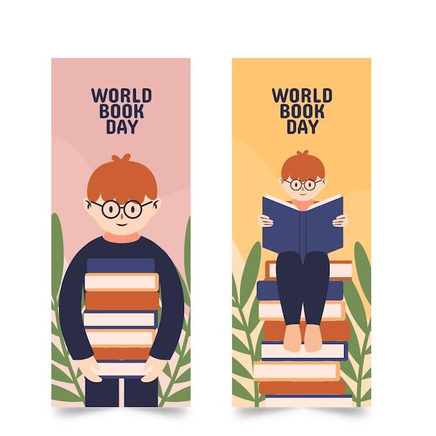 Modelo de banners com o conceito de dia mundial do livro Vetor grátis