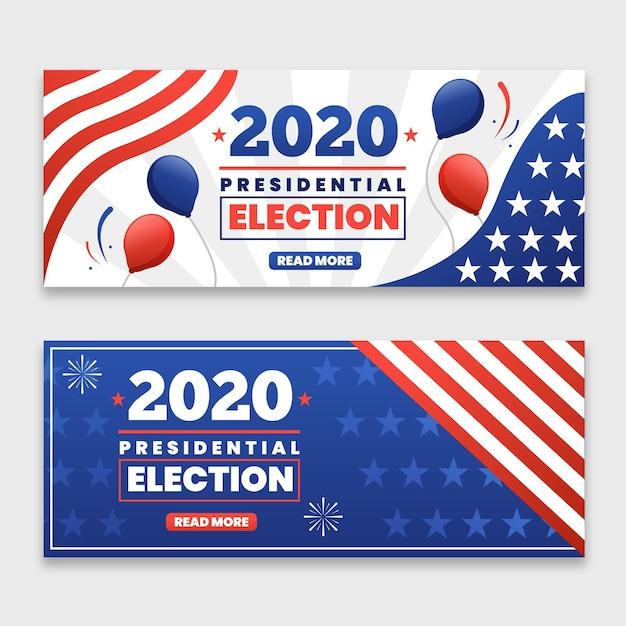 Modelo de banners da eleição presidencial dos eua em 2020 Vetor Premium