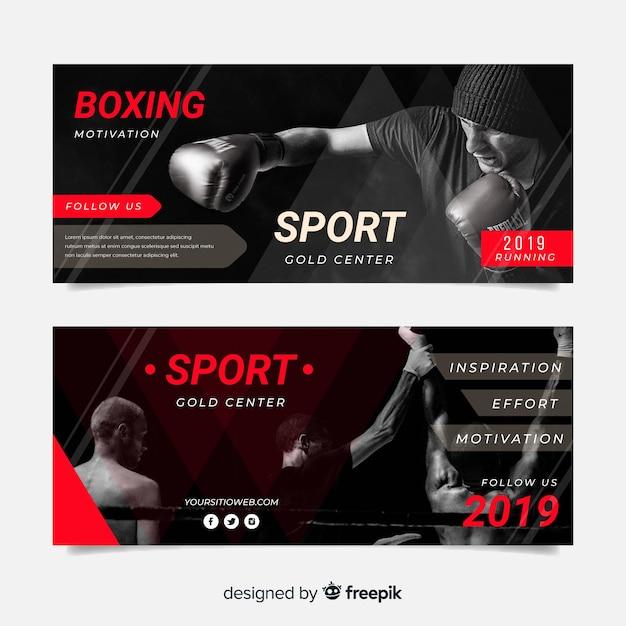 Modelo de banners de esporte com foto Vetor grátis