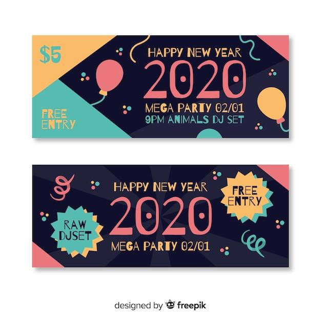 Modelo de banners de festa de ano novo design plano Vetor grátis