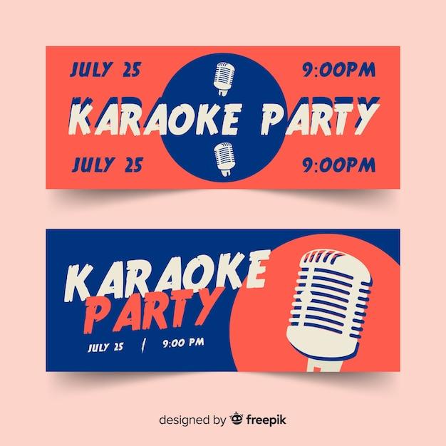 Modelo de banners de festa de karaoke plana Vetor grátis