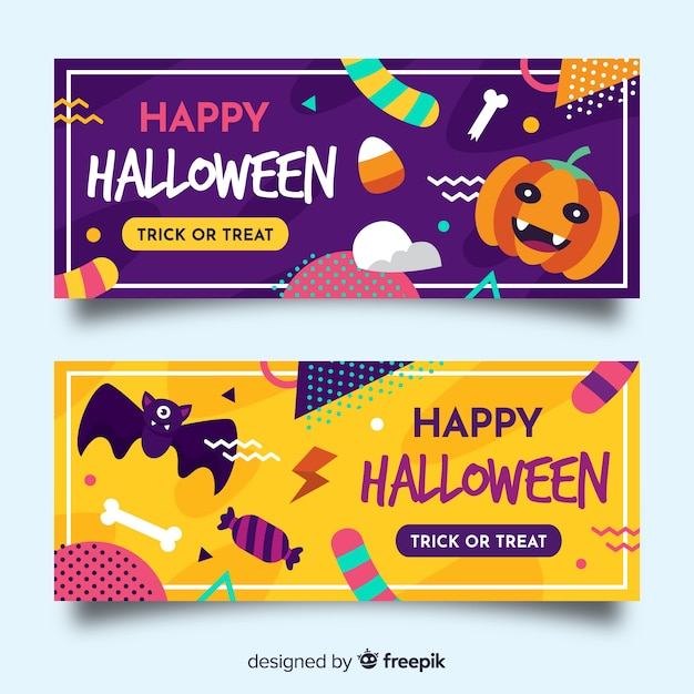 Modelo de banners de halloween design plano Vetor grátis