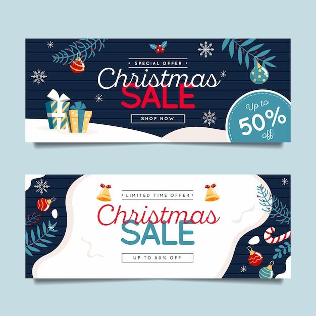 Modelo de banners de natal de design plano Vetor grátis